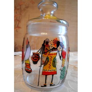 """""""Веселая Африка"""" Стеклянная баночка (вазочка) с крышкой. Ручная роспись."""