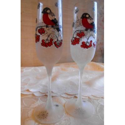"""""""Снегири"""".Новогодние бокалы для шампанского (2 шт)"""