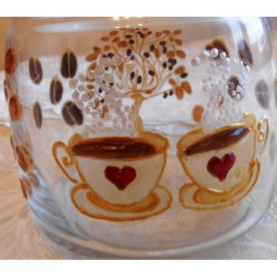 """""""Кофейное дерево"""" Стеклянная баночка (вазочка) с крышкой. Ручная роспись."""