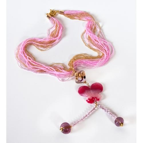 Ожерелье из Венецианского бисера с подвеской Бабочка.