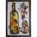 """""""Натюморт с виноградной лозой"""" Картина на стекле в рамке."""