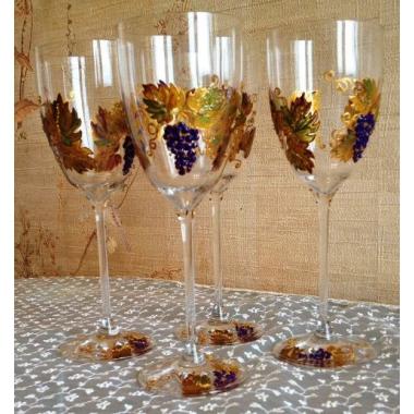 """""""Виноград"""" Бокалы для белого вина. Хрустальное стекло KRISTALIN (Франция).Ручная роспись по стеклу"""