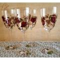 """""""Гранаты"""" Бокалы для красного вина. 4 шт.Хрустальное стекло KRISTALIN (Франция).Ручная роспись по стеклу"""