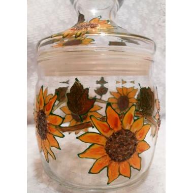 """""""Подсолнух желтый"""" Баночка-вазочка со стеклянной крышкой. Ручная роспись."""