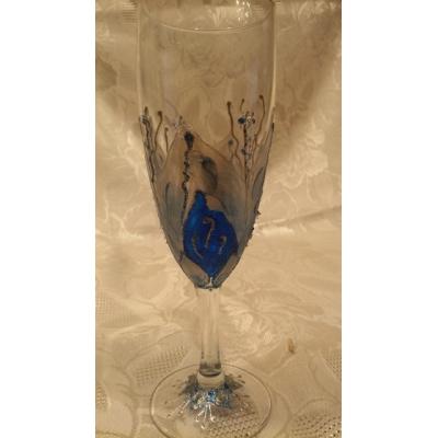 """""""Лепестки синие"""". Бокалы для шампанского (2 шт)"""