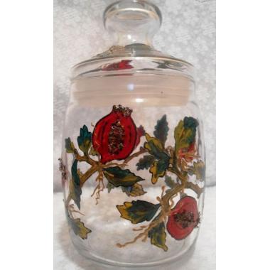 """Гранат""(без цветка) Стеклянная баночка-вазочка с крышкой. Ручная роспись."