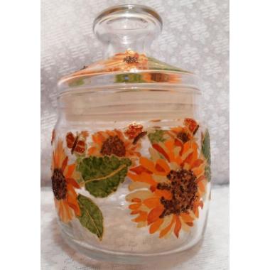 """""""Подсолнух оранжевый"""" Баночка-вазочка со стеклянной крышкой. Ручная роспись."""